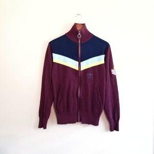 Adidas Trefoil Chevron Stripe Full Zip Red Jacket